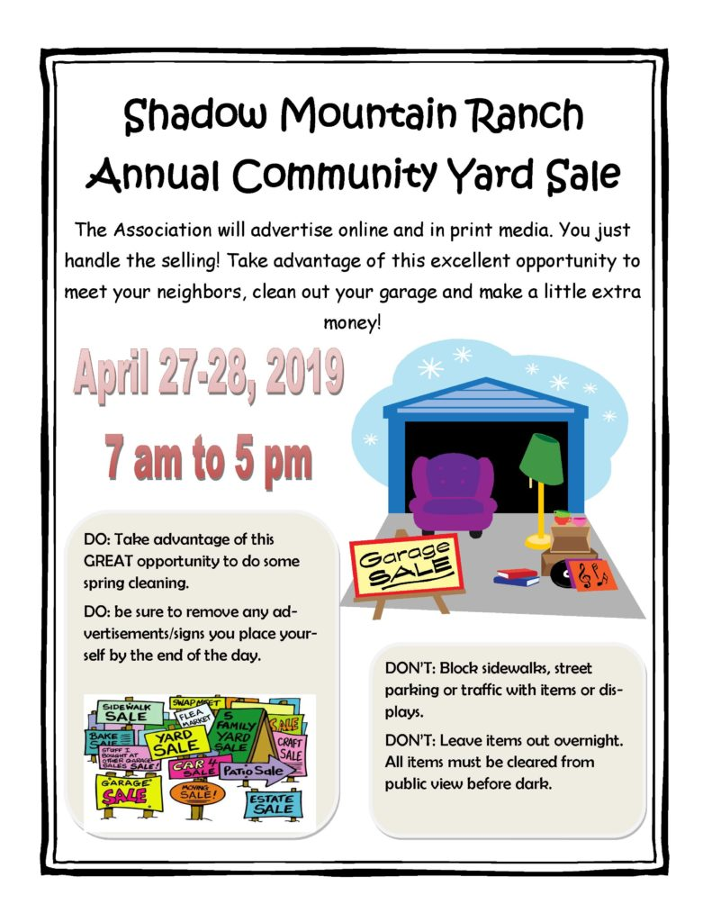 2019 Annual Community Yard Sale Flyer